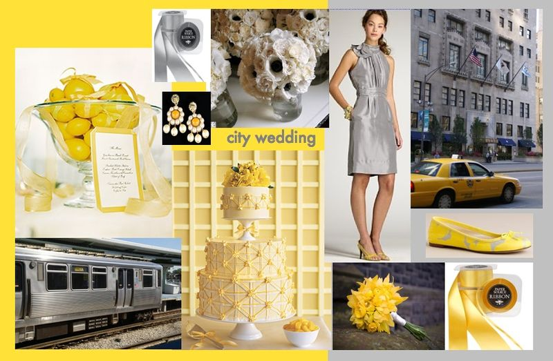 Gray and yellow grey and yellow city wedding inspiration board