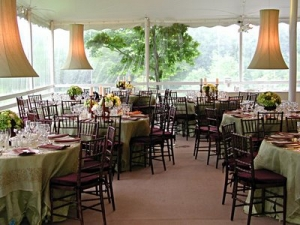 These centerpieces and lamps are a great way to dress up a tent!