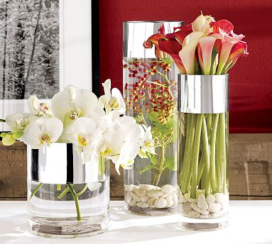 I like the sleek look of the calla lillies and think these vases could be a